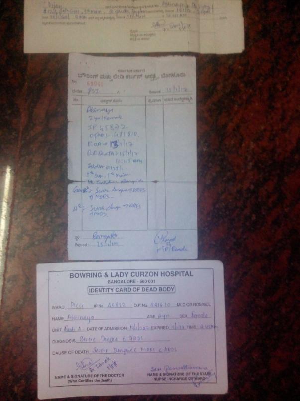 Abhinaya's Death Certificate