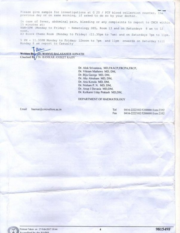 DISCHARGE CERTIFICATE AS I COULD NOT START TREATMENT (BMT)DUE TO MONEY