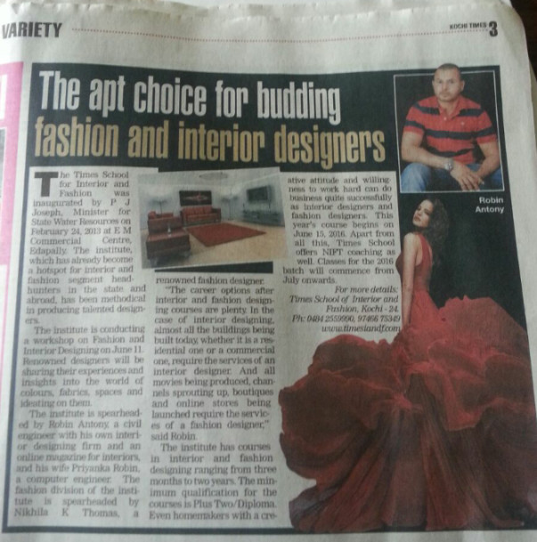 Article published in TOI - Kochi Edition