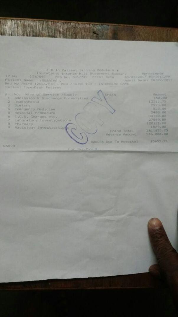 Medical bill invoice copy