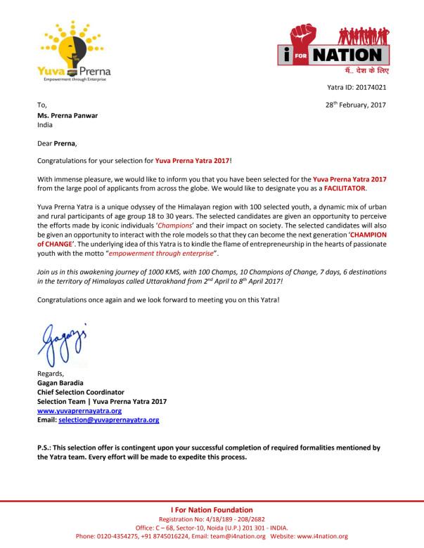 Selection letter for Yuva Prerna Yatra