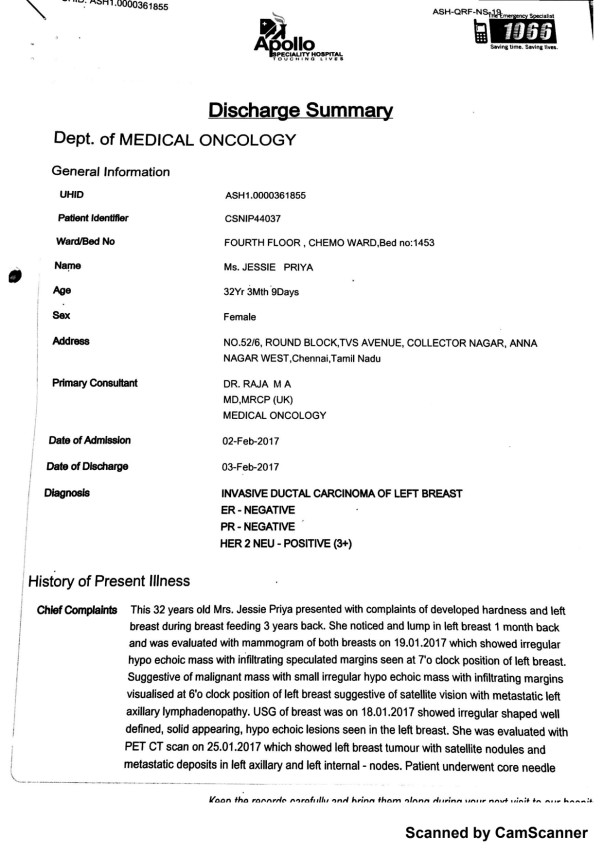 Discharge Summary from Dr Raja Page 1