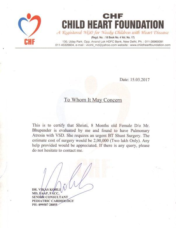 Letter via Pediatric Cardiologist