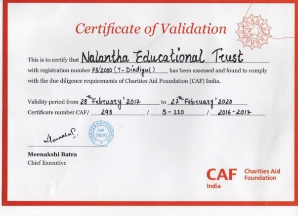 We are Pleased to Inform that we are an Validated NGO with CAFi