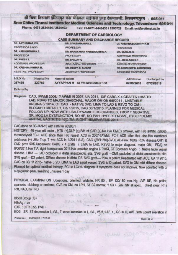 Open Heart Surgery - Report (Father - Ayyappan)