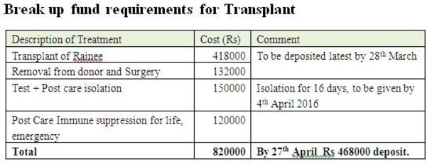 Break up of fund requirements