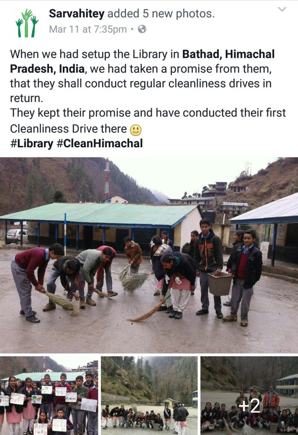 Cleanliness drive in Bargad library, Himachal Pradesh