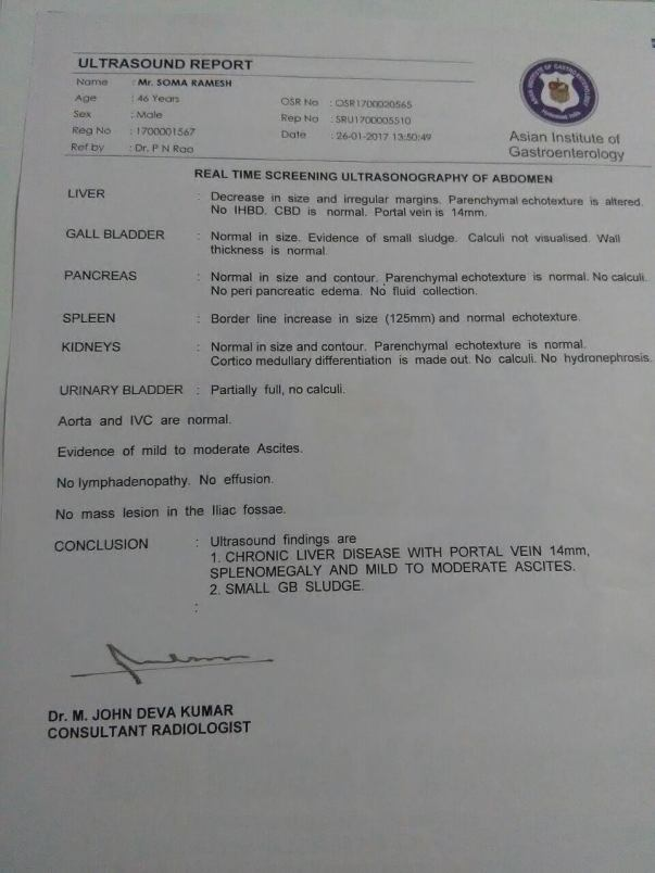 Ultrasound report
