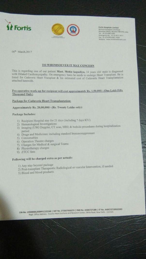 Fortis Hospital Letter of Expenses for Heart Transplant