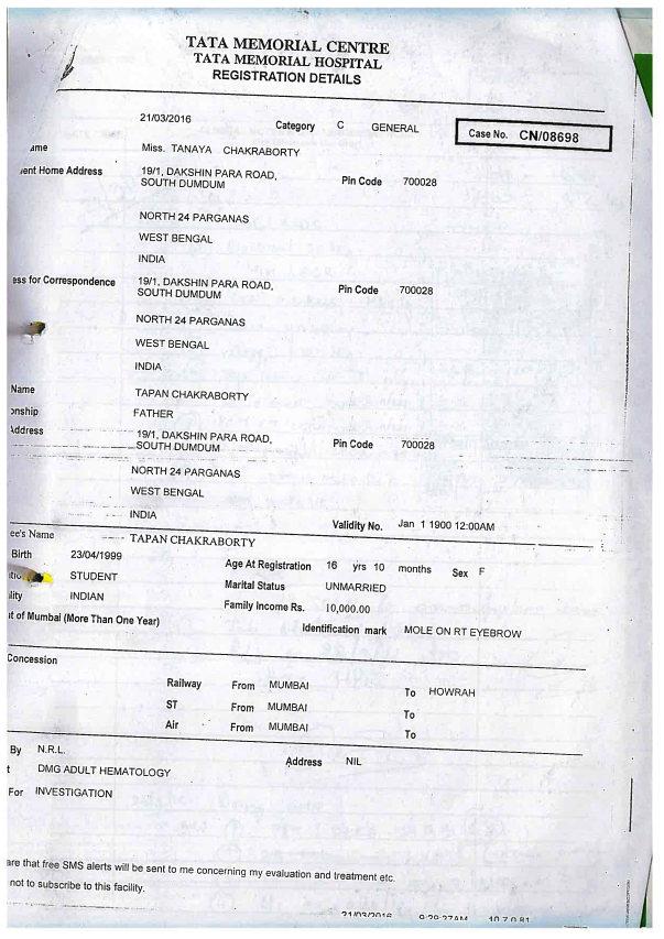 Tanaya's Tata Memorial Hospital Registration Details