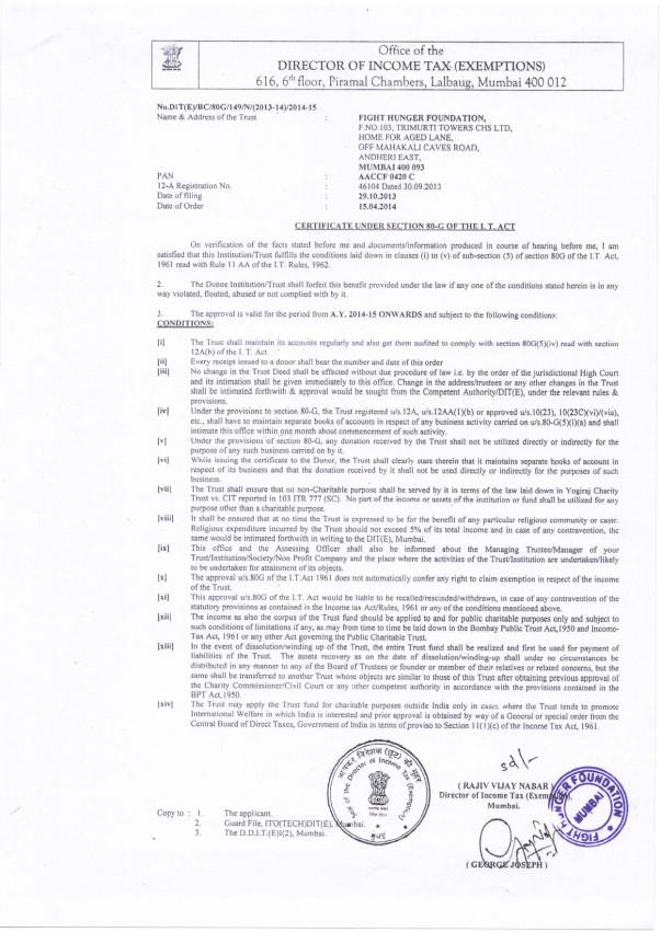 80 G Certificate