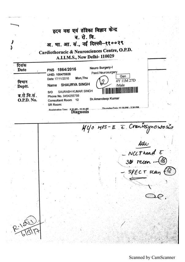 Brain Spect Scan Report - Neuro-Surgery Dpt. AIIMS Delhi.