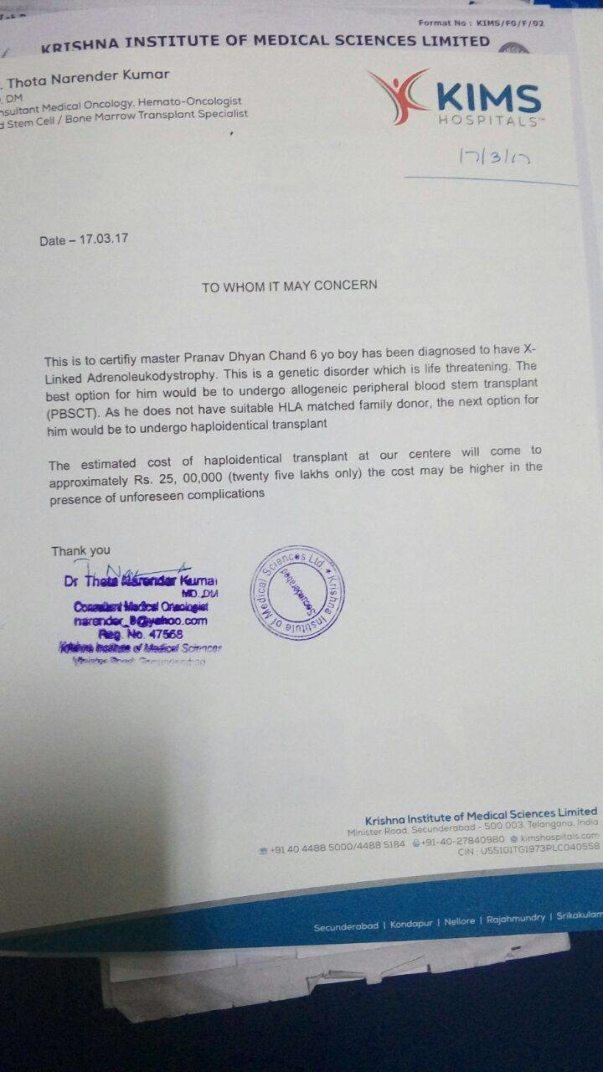Letter from KIMS Hospital