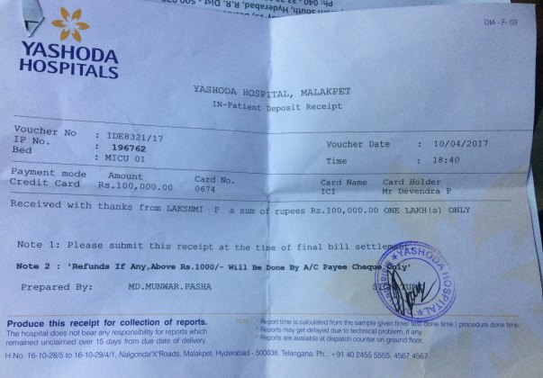 Final bill settlement @yashoda hospital malakpet