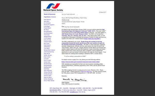 My Invitation letter from NASA