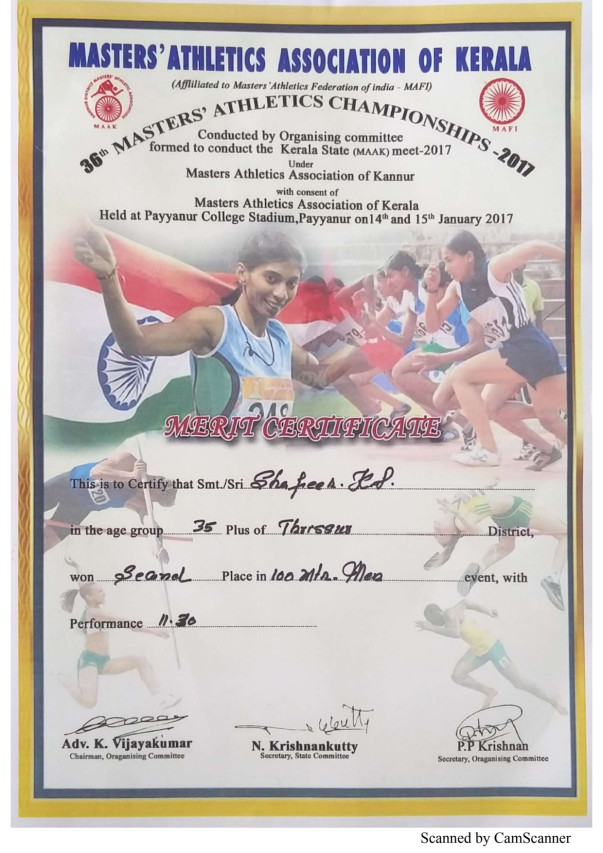 Certificates from India & Kerala Masters tournaments