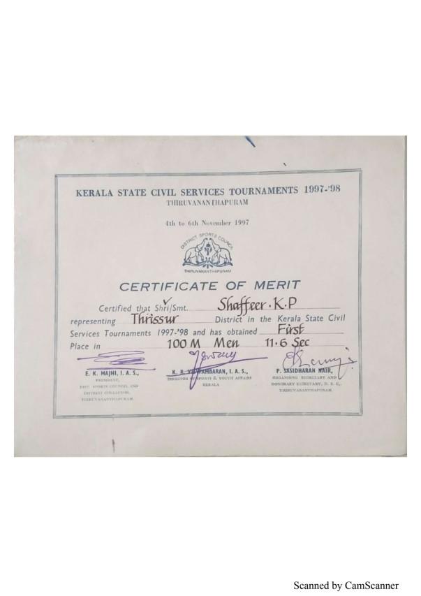 Certificates Civil Services Athletic Meets 1997-2017