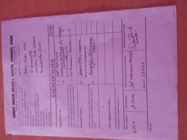 Death Certificate of Rokiyas Husband