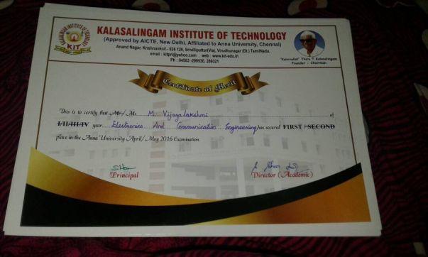 Certificate of Merit, Ms M. Vijayalakshmi