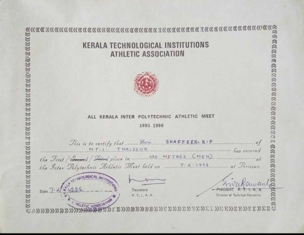 All Kerala Inter Polytechnic Meet - 100m- 1st positon