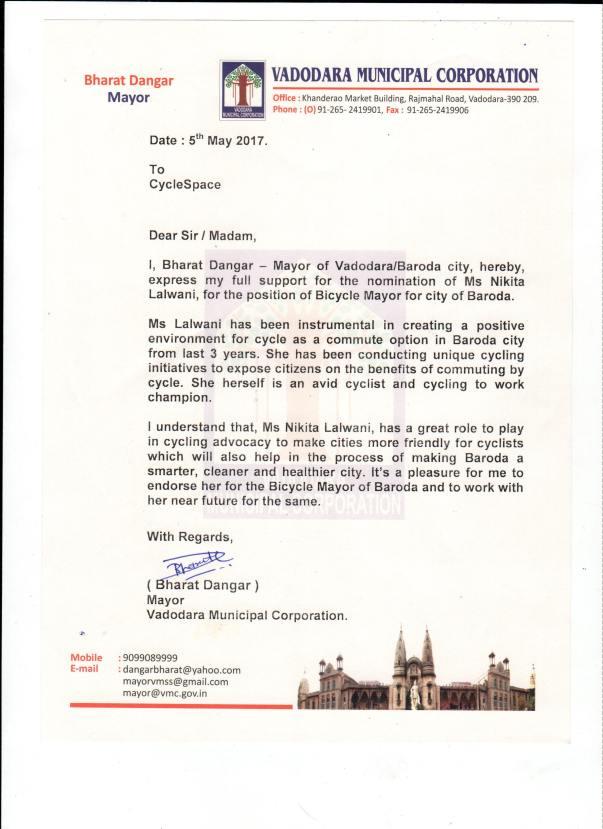 Endorsement letter by Mayor of Baroda, Mr. Bharat Dangar