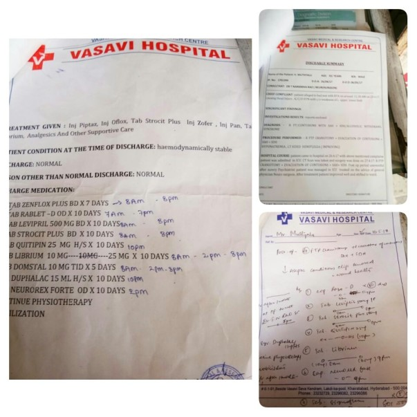 Discharge papers and prescription after accident 1