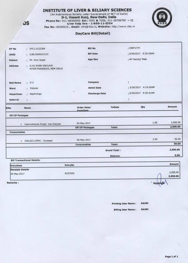weekly dialysis bill summary