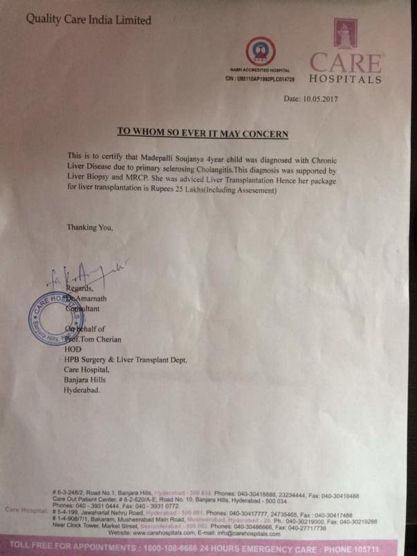 Estimatoi letter from Care Hospitals