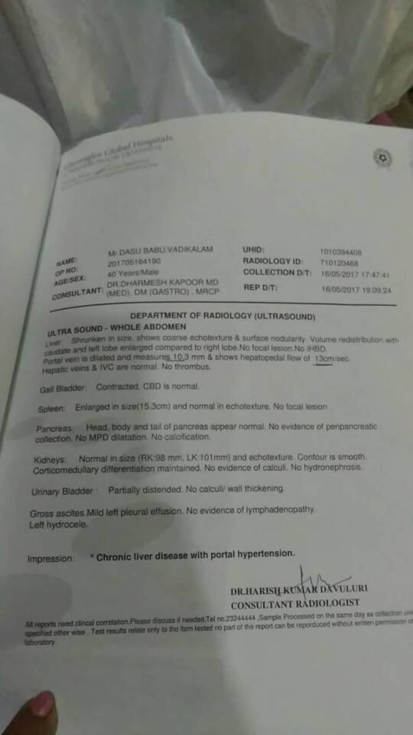 Diagnosis report of his liver taken at global hospitals in hyderabad
