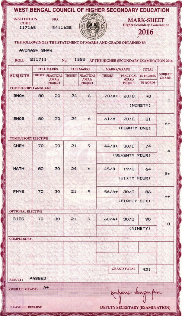 Higher Secondary Marks Card