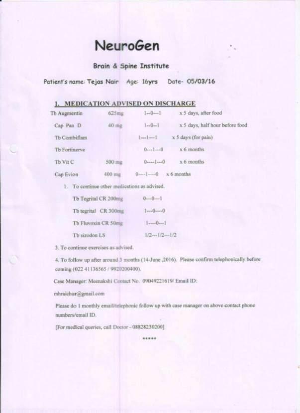 Page 1 - NRRT Treatement Details