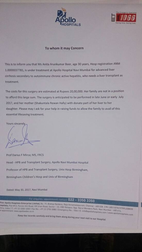 Dr Darius (Apollo Hospital) Letter for liver transplant.