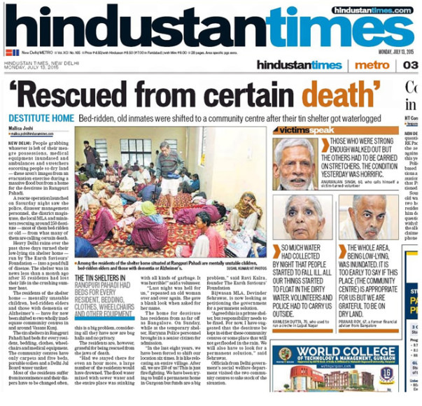 An article from Hindustan Times about the Earth Saviours Foundation