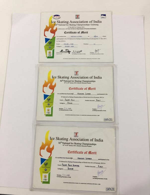 National Skating Championship Certificates