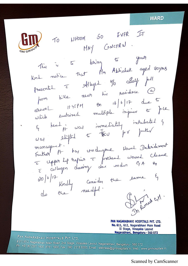 Letter from GM hospital