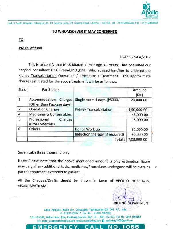 BHARAN KUMAR KGITHA - KIDNEY TRANSPLANTATION - MEDICAL REPORTS