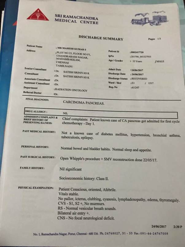 first chemotherapy treatment - Summary Report - 1