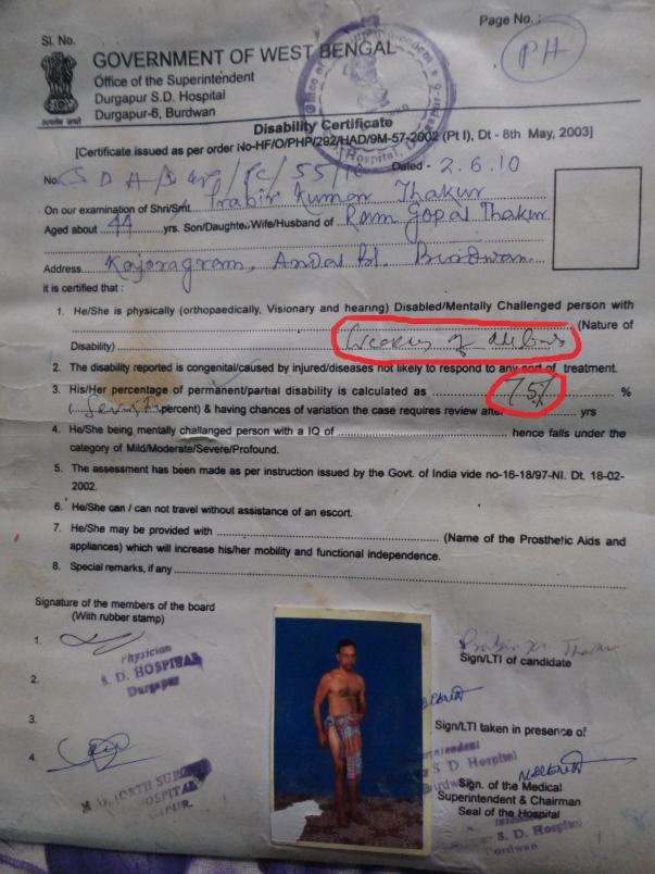 handicapped certificate with 75% disability