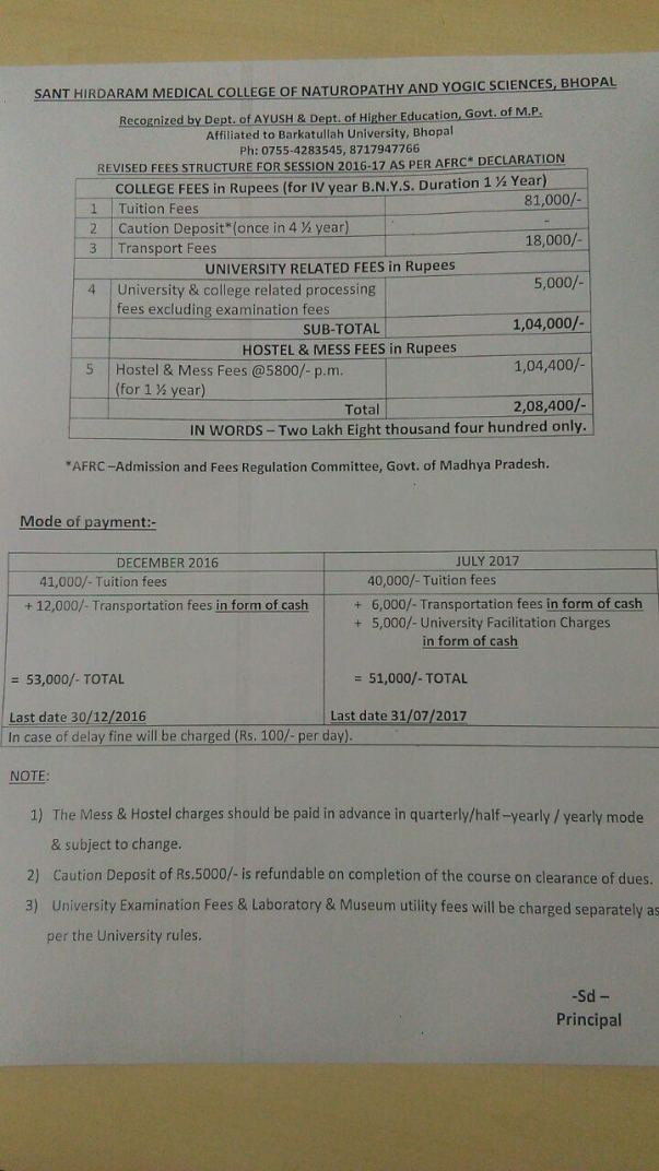 Current fee structure for final year BNYS