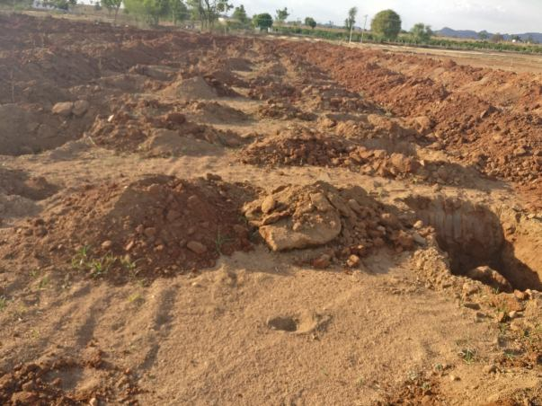 Digging of Pits in the land for mango plantation