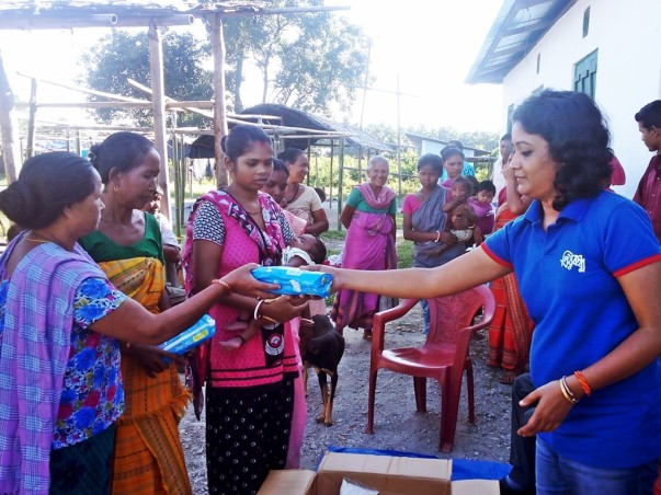 Assam flood relief operation in 2016 at Chirang (Sanitary Napkins)