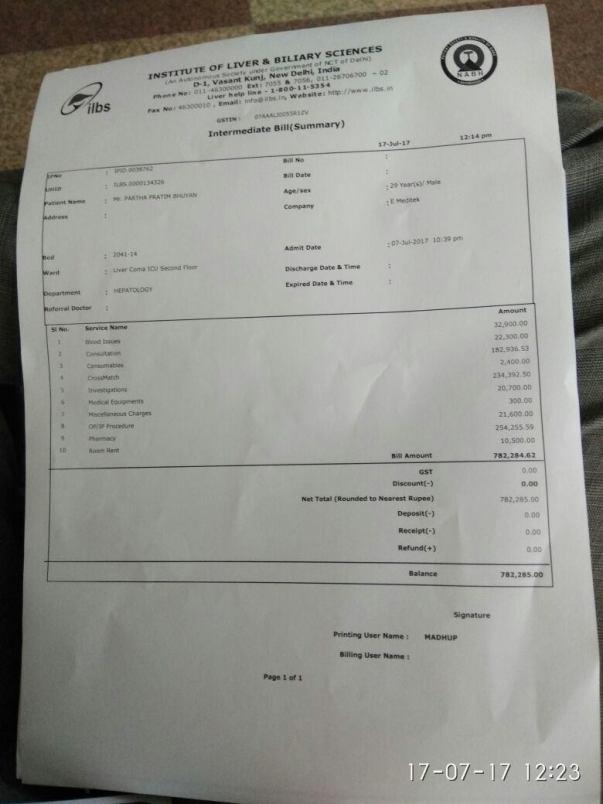 Hospital bills - 16july17