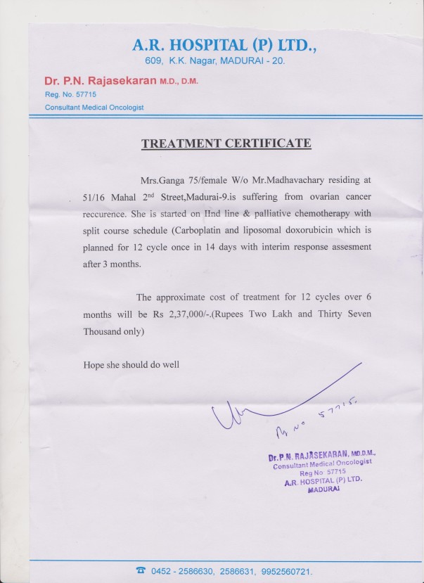 Doctor Certificate and Medical Expenses Estimate Letter