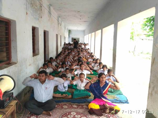 students and teachers of village school attending camp,sono,bihar