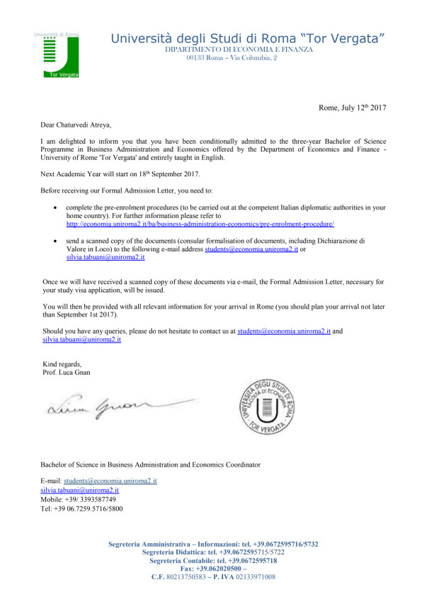 Conditional Admission Letter