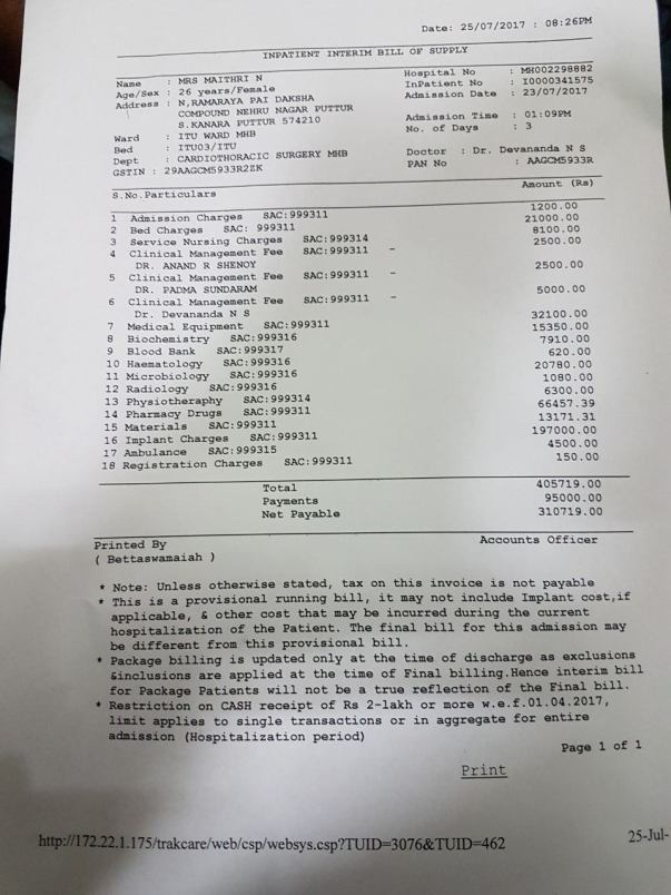 actual cost of 2 days treatment