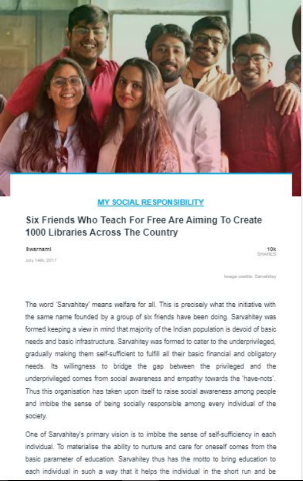 Sarvahitey's story got featured by The Logical Indian
