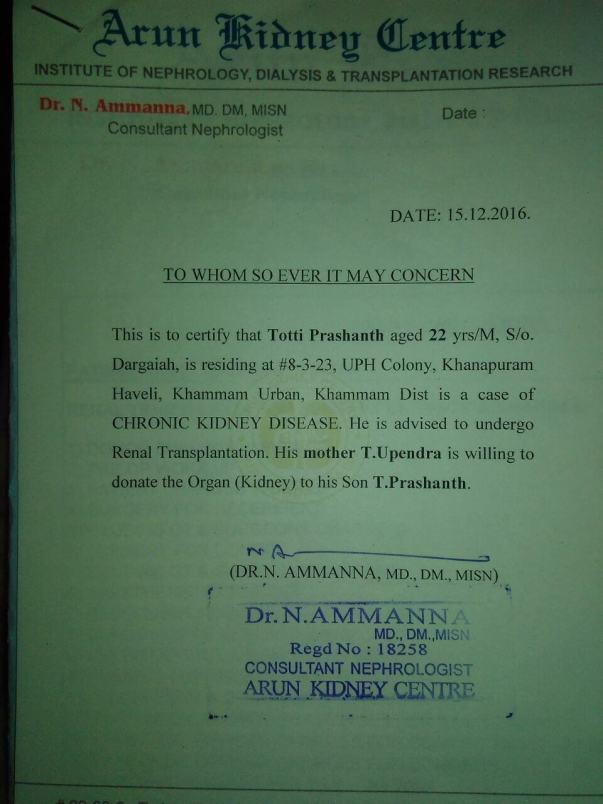 Prashant mother kidney donation NOC