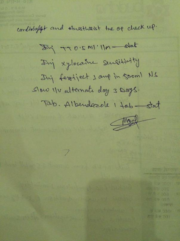 below are the patient's admit letter