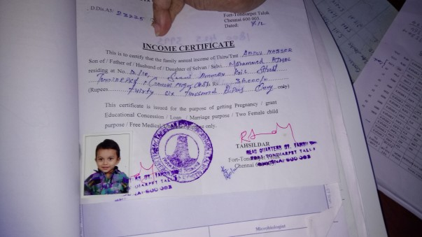 Income certificate of Naseer(father)